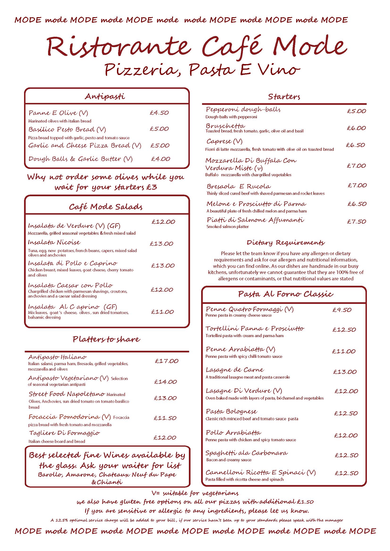 Cafe mode food menu